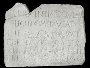 Inscripción funeraria de Aquileya. Primeros siglos del cristianismo.