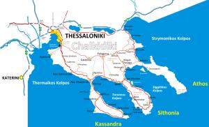 Plano de la Península Calcídica dónde se encuentra el Monte Athos.