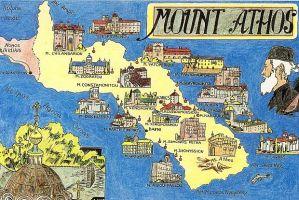 Plano de los 20 monasterios del Monte Athos.