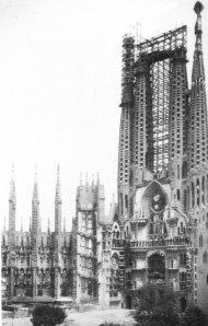 Estado de las obras a la muerte de Gaudí.