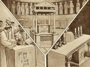 Altar basilical, altar con las reliquias de los mártires y altar actual.