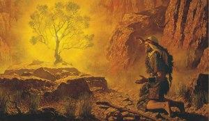 Dios (zarza de fuego) habla a Moisés.