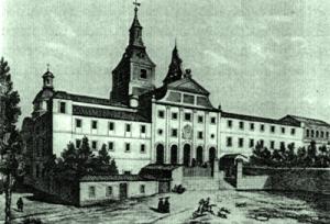 Grabado del antiguo convento de Recoletos de Madrid, que quiso evocarse en la nueva construcción de la residencia de Cea Bermúdez.