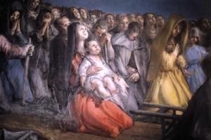 Nicolás celebrando la Eucaristía. Cripta de San Nicolás de Tolentino. Juan Barba. Detalle.