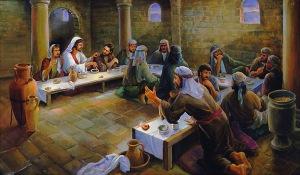 Última cena que representa un triclinio judío.