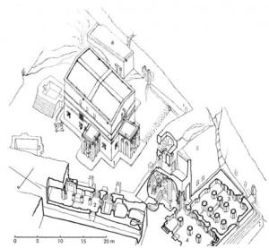 Axonometría. Templos al Norte del arroyo Yordanos. Por Lino Bianchi Barrivera.