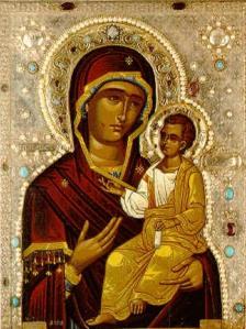 Icono bizantino con fondo plateado.