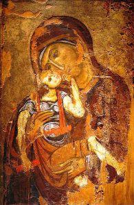 Icono de Virgen con niño, siglo XII. (Museo Cristiano y Bizantino de Atenas).