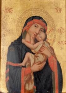 Icono ortodoxo del siglo XIX. Virgen Eleusa.