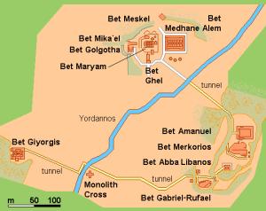 Plano de situación de las once iglesias talladas en Lalibela.