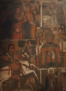 Pintura religiosa en el interior del templo Bet Mikael.