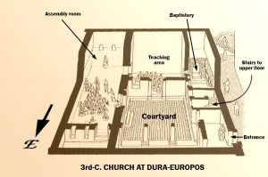 Dibujos sobre interior del Titulus Dura Europos.