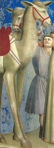 Detalle de los camellos y los camelleros.
