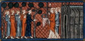 San Luis recibe las reliquias. Pintura del siglo XIV.