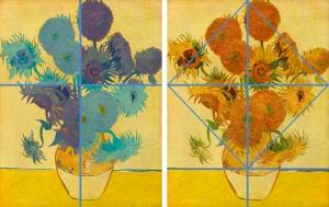 Esquema compositivo de los Girasoles de Van Gogh.