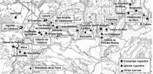 Plano de iglesias rupestres de Cantabria.