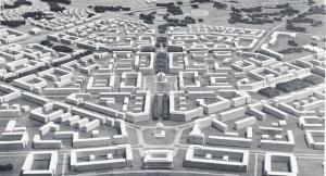 Maqueta de la futura ciudad de Nowa Huta.