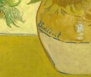 Firma de Vincent Van Gogh en los Girasoles.