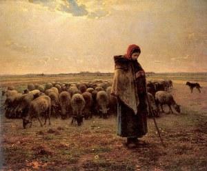 Pastora con su rebaño (Millet, 1864)