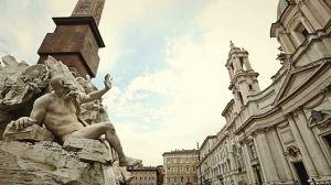 Fuente de los ríos de Bernini frente la iglesia de Santa Agnese in Agone de Borromini. Piazza Navona (Roma)
