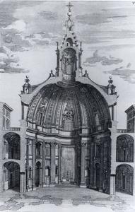Dibujo de la sección de la capilla Sant Ivo della Sapienza