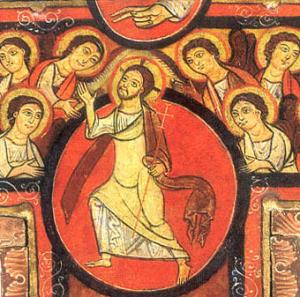 Círculo en la parte superior del Cristo de San Damián