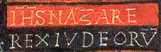 Inscripción superior en El Cristo de San Damián