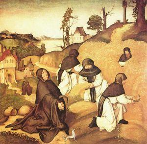 Monjes cistercienses trabajando en el campo