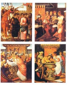 Oleos sobre tabla que describen la aparición de la Vera Cruz en Caravaca