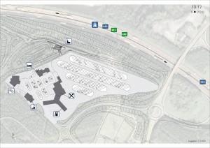 Plano de situación de la iglesia de la autopista