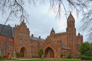 Abadía benedictina de Quarr, isla de Wight, Inglaterra reconstruida en 1912 bajo la influencia de El Arca