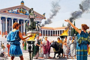 Ofrenda en exterior templo griego