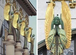 Ángeles en la fachada principal iglesia san leopoldo