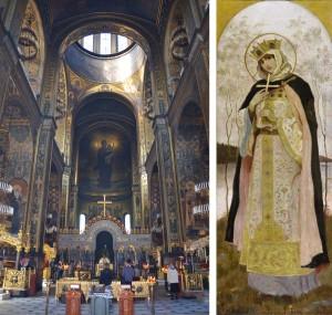 Izqda. el interior de la catedral de San Vladímir en Kiev. Dcha. Santa Olga, uno de los murales realizados por Nesterov