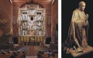 Imagen de san Josemaría a la izquierda del retablo
